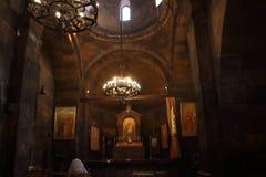 L'interno della chiesa della madre santa di Dio, Surb Astvatzatzin, in Khor Virap, l'Armenia Immagini Stock Libere da Diritti