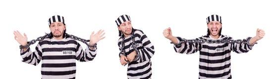 L'interno della prigione isolato sui precedenti bianchi Fotografia Stock Libera da Diritti