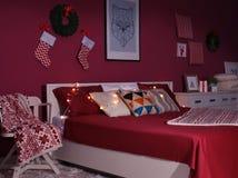 L'interno di bella stanza ha decorato il Natale Immagini Stock