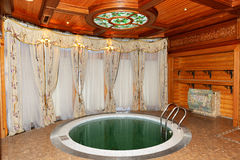 L'interno di sauna in Mezhigirya Immagini Stock