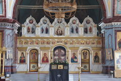 L'interno di una chiesa ortodossa Fotografia Stock Libera da Diritti