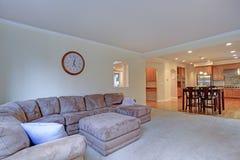 L'interno domestico leggero spazioso con le pareti giallo-chiaro dipinge il colore immagine stock libera da diritti