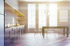 L'interno grigio della cucina, manifesto, parteggia tonificato Immagine Stock