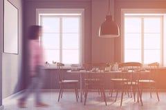 L'interno grigio della sala da pranzo, manifesto, parteggia tonificato Fotografia Stock Libera da Diritti