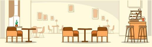 L'interno moderno del caffè non svuota self-service della gente con l'insegna orizzontale di scarabocchio di schizzo della mobili illustrazione vettoriale