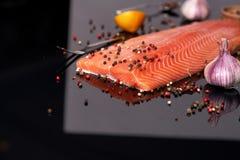 L'intero raccordo di color salmone su un fondo riflettente scuro con il pois ha colorato il pepe, l'aglio, il limone, rosmarino fotografie stock libere da diritti