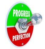 L'interruttore basculante della perfezione o di progresso sceglie muoversi in avanti illustrazione vettoriale
