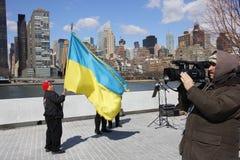 L'invasion de la Crimée d'agains de protestation Image stock