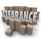 L'inventario di liquidazione inscatola il magazzino Fotografia Stock