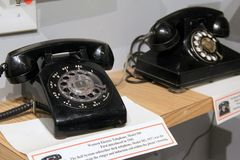 L'invention du téléphone, un de beaucoup d'objets exposés, musée industriel de Baltimore, le Maryland, 2017 Images libres de droits