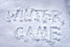 L'inverno dell'iscrizione è venuto su neve fresca Immagini Stock