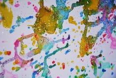 L'inverno ha acceso la pittura viva dell'acquerello della cera rosa verde blu grigia dell'oro, tonalità variopinte Fotografie Stock