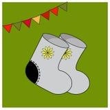 L'inverno ha ritenuto gli stivali con l'ornamento Elementi di abbigliamento caldo Costume piega degli accessori Carte educative o royalty illustrazione gratis