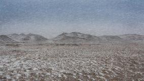 L'inverno, il paesaggio della bufera di neve colpisce le montagne Fotografia Stock