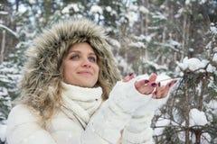 L'inverno nella ragazza di legni prende la neve in sue mani Fotografie Stock