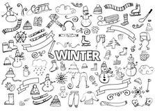 L'inverno scarabocchia la raccolta Elementi di disegno Pupazzo di neve, fiocchi di neve, cieli, sciarpa, bevande calde, caffè, ta Fotografie Stock Libere da Diritti