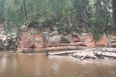 L'inverno scenico ha colorato il fiume in paese - annata retro Immagine Stock
