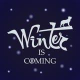 L'inverno scritto a mano di frase sta venendo Fotografia Stock Libera da Diritti