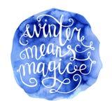 L'inverno significa l'iscrizione magica dell'acquerello Immagini Stock Libere da Diritti