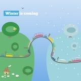 L'inverno sta venendo, illustrazione di vettore Immagini Stock Libere da Diritti