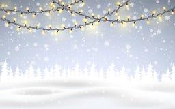 L'inverno sta venendo Natale, paesaggio nevoso del terreno boscoso di notte con neve di caduta, abeti, ghirlanda leggera, fiocchi illustrazione vettoriale