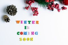 L'inverno sta venendo presto La frase ha allineato con le lettere di legno variopinte su fondo bianco con le pigne, il ramo del p Immagini Stock