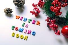 L'inverno sta venendo presto La frase ha allineato con le lettere di legno variopinte su fondo bianco con le pigne, il ramo del p Fotografie Stock Libere da Diritti