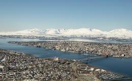 L'inverno tardo in Tromso Fotografie Stock