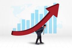 L'investitore porta il grafico finanziario della crescita fotografia stock