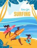 L'invitation d'insecte est écrite l'heure pour surfer illustration de vecteur