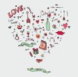 L'invitation de griffonnage de jour du ` s d'amour et de Vlentine conçoivent Image libre de droits