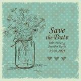 L'invitation de mariage avec le pot et la camomille de maçon fleurit illustration de vecteur