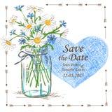 L'invitation de mariage avec le pot et la camomille de maçon fleurit illustration libre de droits