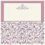 L'invitation de mariage carde le style baroque Configuration de cru Ornement de style de Damas Vue avec des éléments de fleurs Images libres de droits