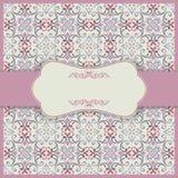L'invitation de mariage carde le style baroque Configuration de cru Ornement de style de Damas Vue avec des éléments de fleurs Photos stock