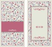 L'invitation de mariage carde le style baroque Configuration de cru Ornement de style de Damas Vue avec des éléments de fleurs Photo libre de droits