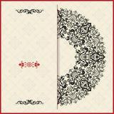 L'invitation de mariage carde le style baroque Configuration de cru Ornement de style de Damas Vue avec des éléments de fleurs Image stock