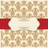 L'invitation de mariage carde le style baroque Configuration de cru Ornement de style de Damas Vue avec des éléments de fleurs Image libre de droits