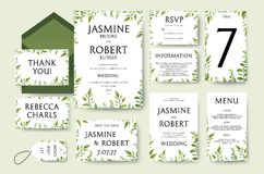 L'invitation de mariage invitent le design de carte : branches vertes d'arbre, leav Photographie stock libre de droits