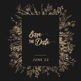L'invitation de noce et sauvent les calibres de carte de date avec des fleurs du muguet tirées par la main avec les courbes de ni Photos libres de droits