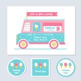 L'invitation de partie d'enfants de vecteur de camion de glace et vous remercient des cartes Photos libres de droits