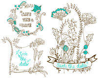 L'invitation florale de mariage carde la collection Images stock