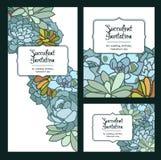 L'invitation succulente de fleur a isolé l'illustration tirée par la main de vecteur, avec le coin dans le style oriental, texte, Image stock