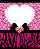 L'invito carda il modello con i cuori e la zebra astratti del diamante Fotografia Stock Libera da Diritti