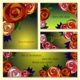 L'invito, conserva le carte di data con le rose del mosaico. Illustrazione Vettoriale