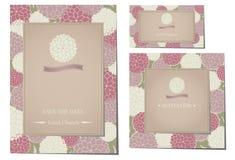 L'invito di nozze carda Dahlia Flower Pattern bianca e rosa con la foglia verde vettore/illustrazione Fotografie Stock