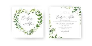 L'invito di nozze, floreale invita, conserva l'insieme di carta della data Foglia tropicale di verde dell'acquerello, pianta fert royalty illustrazione gratis