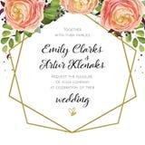 L'invito di nozze, floreale invita la progettazione di carta con il ro rosa della pesca illustrazione vettoriale