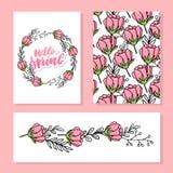 L'invito floreale di nozze elegante invita, grazie, rsvp, conservano il verde rosa di Rosa della pesca di progettazione della car illustrazione vettoriale
