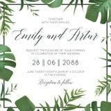 L'invito floreale di nozze tropicali, invita la carta Vector le foglie verdi esotiche della palma di stile dell'acquerello, erbe  royalty illustrazione gratis